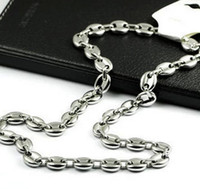bean fashion - price mm L Stainless steel High Polished coffee beans Link Chain Necklace fashion men women jewlery silver tone