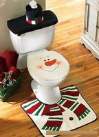 bathroom toilet tank sets - 2015 Hot Sell Christmas Decorations Snowman Toilet Seat Cover and Rug Bathroom Set Toilet Seat Cover Rug Tank Tissue Box Cover set C082