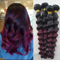two tone hair extensions - Ombre Virgin0 Hair Loose Wave Unprocessed Brazilian Ombre Human0 Hair Extension Wavy Bundles Two Tone Burgundy Brazilian Weave