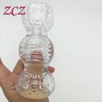 100% real foto transparente silicona hombre masturbación <b>Pocket Pussy</b> Penis entrenador para evitar la eyaculación precoz juguetes sexuales SX452