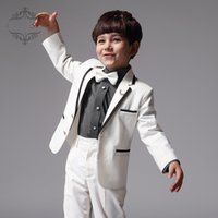 Wholesale Hot Sales Lapel Fashion Boy two Button Handsome Baby Suit Children Dress Suit Male Flower Girl Dress Jacket Pants