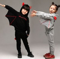 Wholesale Winter Korean Children Tracksuit Thikcen Add Wool Bat Hoodies Pants Kids Suit Halloween Baby Boy Girl Party Clothing Set WD308