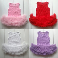 Cheap rose flower lace rompers Best baby girls tutu rompers