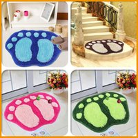 Wholesale Cute flocking Anti slip absorbent mats Sitting room sofa tea table carpet bedroom bathroom door mat bibulous floor big feet mat