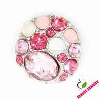 big clay - Almost a love story pink theme big rhinestone metal snap button snap jewelry buttons for diy snap jewelry bracelet or necklace