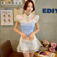 Wholesale Dabuwawa Women Elegant Short Puff Sleeve Lapel Neck Three dimentional Embroidery Butterfly Sky Blue Blouse