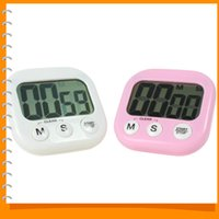 Wholesale Large LCD Magnetic Digital Kitchen Timer Loud Alarm Kitchen Cooking Timer Countdown Count Up Down Stopwatch White Pink