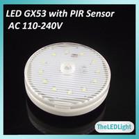 gx53 - 10PCS PIR GX53 LED Cabinet Light W SMD Chips AC V V PIR Motion Sensor GX53 LED Lamp