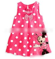 Wholesale 2014 Summer Hot Sell Girls Dots Printed Minnie Mouses Dress Chilren Cartoon Bowknots Sleeveless Petticoat Kids Girls Leisure Dressy E1181