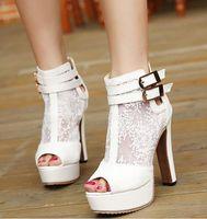 Taille 34 talon rose Avis-Nouveau buld dentelle en soie bottes de mariage blanc pompes de mariée épais talon chaussures rose mariée 3 couleurs de taille 34 à 39 WX