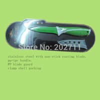 Wholesale 3 quot non stick coating stainless steel blade pp tpr soft handle fruit knife