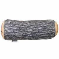 Gros-New Home Decor naturel Cylindre Bois Soft Design Log Oreiller Car lombaire Coussin Sellette Voyage Camping Oreiller