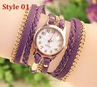 Wholesale New FAshion Hot Colorful Vintage women watches Weave Wrap Rivet Leather Bracelet wristwatches watch Styles