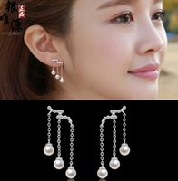 Wholesale 2015 New Sterling Silver Jewelry Stud Earring Three Pearl Tassel Stud Earrings Valentine s Day Gift High Quality