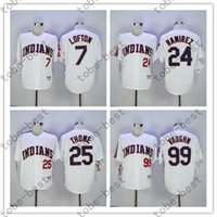 Wholesale 7 KENNY LOFTON Manny Ramirez Jim Thome Ricky Vaughn Indians Jersey Vintage