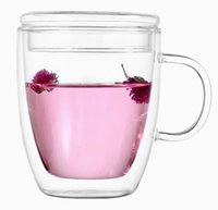 Wholesale High performance cheap Heat resistant transparent fruit juice milk coffee beer drinkware double layer large capacity with handle