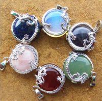 green jade stone - 2016 Natural Gemstone Dragon Druzy Stone Amethyst Tiger s Eye Stone Pendants For Necklaces Women Men Jade Jewelry