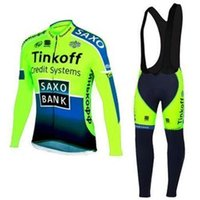 Wholesale Tinkoff Green Cycling Jersey Winter Thermal Fleece Long Sleeve bib pants Bicycle clothing Set men bike maillot roupa ciclismo