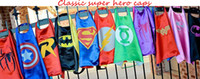 Wholesale 50 Super hero capes baby boys girls superhero cape superman baby halloween cosplay costume cm cloak styles J042801