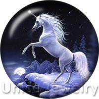 animal findings - AD1301480 mm Colors Snap On Charms for Bracelet Necklace Hot Sale DIY Findings Glass Snap Buttons Unicorn Design noosa