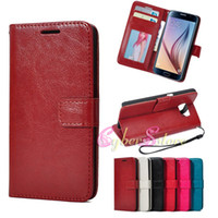 crazy horse leather - For Galaxy S6 PU Leather Crazy Horse Skin Wallet Phone Case With Card Slots Filp Stand Photo Frame For Samsung G9200 Luxury Cover