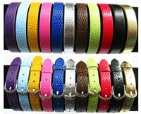 Wholesale 10pcs mm PU Leather Snake skin Buckle Wristband DIY Name Bracelet mixed color Can through mm slide Letter charms WB001