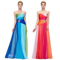 Wholesale New Chiffon Long Colorful Chiffon Beaded Bridesmaid Dress Grace Karin Evening Dress Strapless Pleated Prom Formal Party Dress Gown CL6069