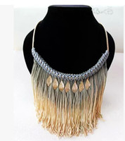 Wholesale 2015 NEW bohemian fringed leaves woven rope pendant necklace female short necklaces