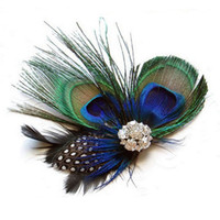 big clipper - Hot Selling peacock Feather hair clippers with big rhinestone Bridal Hair accessories lady fashion hairpin women barrettes girl hair jewelry