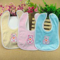 Wholesale Newborn Baby Cute Cotton Animal Bear Bibs Waterproof Bib Bandana Bibs For Babies Girls Boys Burp Babies Clothing