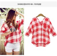 Wholesale Theone0750 Women s Top Blouse Plaids Pattern Shirts V Neck Tops Casual Blouse Turndown Collar Long Sleeve Plaids Print Pattern Flannel Shirt