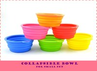 Wholesale Silicone Candy Color Folding Dog Bowl Easy Take Portable Pet Cat Puppy Drinking Collapsible Outside Feeding Water Travel Dish Feeder