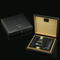 cigar humidor - COHIBA Cedar Wood Black Leather Case Cigar Humidor with Digital Hygrometer Stainless Steel Cigar Cutter Lighter Set