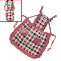 Wholesale Women s Plaid Home Kitchen Cooking Bib Apron Dress with Two Pockets Hot Sale