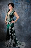 Cheap 2015 cheap price Green Arabic Kaftan Evening Dresses New Hot With Long Sleeves And Applique Lace Satin Abaya Dubai Mermaid Evening Gowns