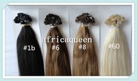 """Cheap 18""""~28"""" Indian Peruvian Straight Africaqueen Hair Extensions Prebonded natural color Human Remy Hair Flat Tip Hair Extensions in stock"""