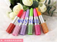 Wholesale DHL Freeshipping Rhinestone Sexy Lipstick Shape Office Stationery Ballpoint Ball Pen