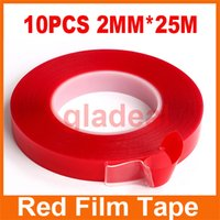 Wholesale 10pcs mm m Strong Acrylic Adhesive PET Red Film Tape Clear Double Side No Trace Tape For Phone Tablet LCD Screen Glass Repair Tool