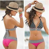 Bikinis bandeau style bikini - Swimwear Bikini Set Bathing Suit Retro Biquini Bandeau Push Up Padded Bra Swimsuit Beachwear Dot Style fpr Sexy Women DHL Free