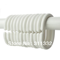 Wholesale Shower Curtain Bath Drape Hook Hanger Ring Loop Clasp Plastic Hook White Curtains Holder