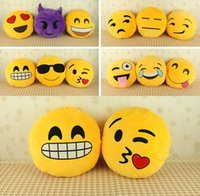 Wholesale 2015 Cushion Cute Lovely Emoji Smiley Pillows Cartoon Facial QQ Expression Cushion Pillows Yellow Round Pillow Stuffed Plush Toy HW18