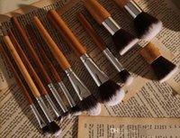 al por mayor eco bamboo-Maquillaje maquillaje 10PCS caliente cepillo del sistema de cepillo pinceles de bambú natural Maneja Súper cerdas suaves Ecológico 10 PC / set envío libre