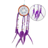 Wholesale new Colorful Dreamcatcher Circular Purple Feathers Wall Hanging Home Decoration house Decor Craft