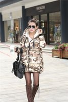 Cheap Hot Sale Winter Women Camouflage Parka Down Jacket Coat Long Hooded Warm Outwear Fashion Thick Overcoat Military Design