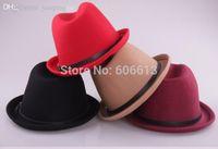 Wholesale New colors Belt design wool hats fedora Vintage Ladies Mens Wool felt Hat Floppy Bowler Fedora Cap Retail