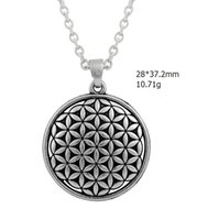 egyptian jewelry - 100pcs Zinc Alloy Material antique Silver round Egyptian style Pendant Necklace Jewelry Myth love Knot flower of life Necklace