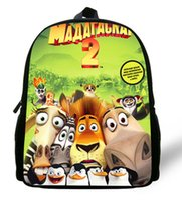 alex color bag - 12 inch Cartoon Kids Backpack Boys Mochila Infantil Madagascar Bag Alex Penguins Print Kindergarten Children School Bags Mini