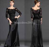 Off-the-Shoulder mother of the bride dress - 2015 New Arrival Mother of the Bride Dresse Long Sleeve Charming A Line Off Shoulder Black Lace Pleat Formal Dresses Hot Custom Made