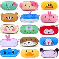bag school cartoon - 2016 New Cute Cartoon Kawaii Pencil Case Plush Large Pencil Bag for Kids School Supplies Material Korean Stationery