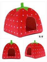 Wholesale 10pcs S M L Size Colors Soft Sponge Strawberry Pet House For Dog Cat Lovely Warm Pet Cage Supplies